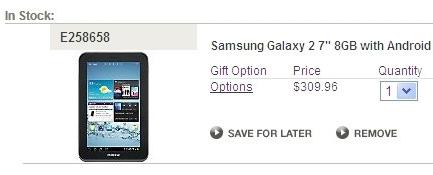 Samsung Galaxy Tab 2 7.0 оценен в $310 в США