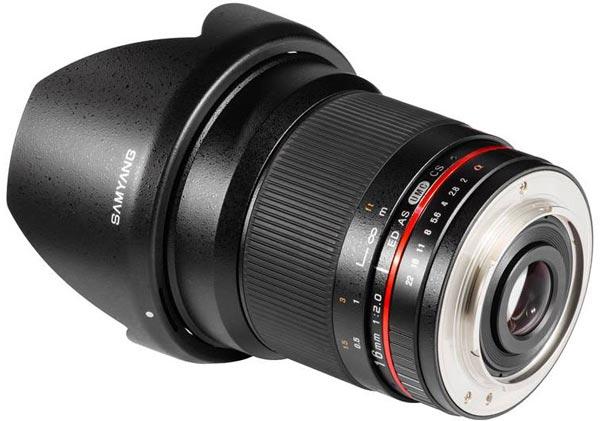 Объектив Samyang 16mm f/2.0 ED AS UMC CS рассчитан на ручную фокусировку