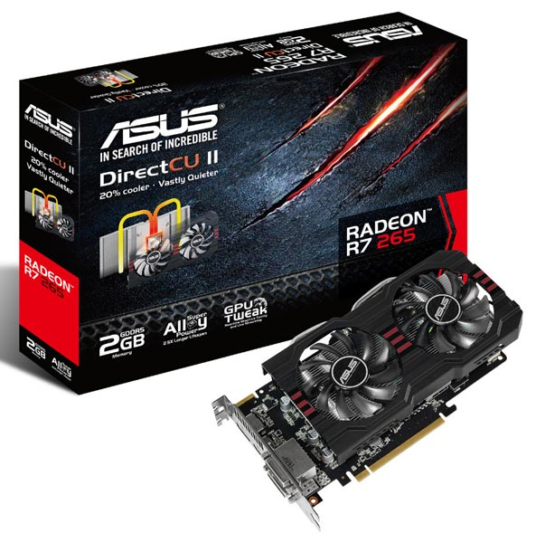 Набор видеовыходов 3D-карты Asus R7 265 DirectCU II включает DVI-D, DVI-I, HDMI и DisplayPort