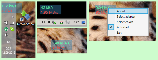 Приложение для отображения текущей скорости сетевого подключения