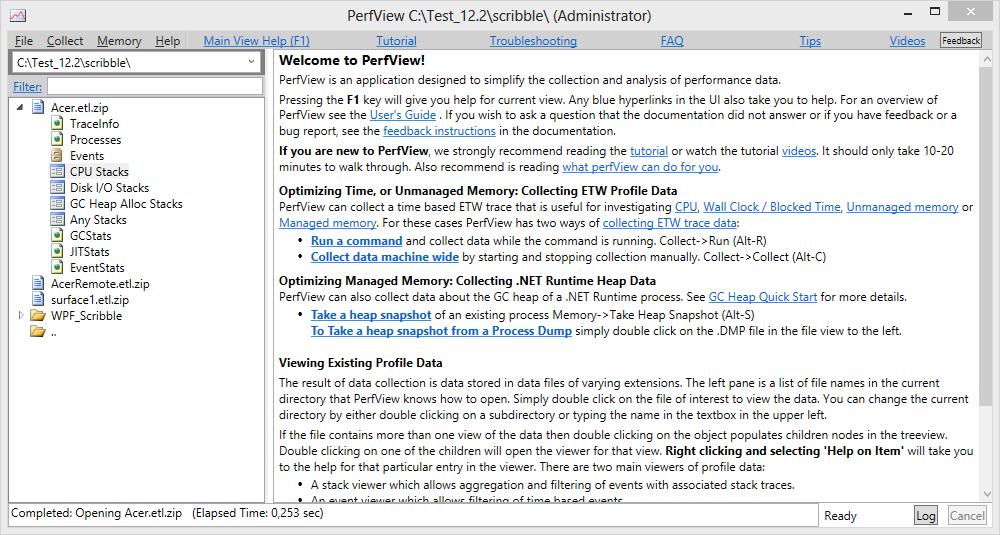 Применение утилиты PerfView в службе поддержки пользователей