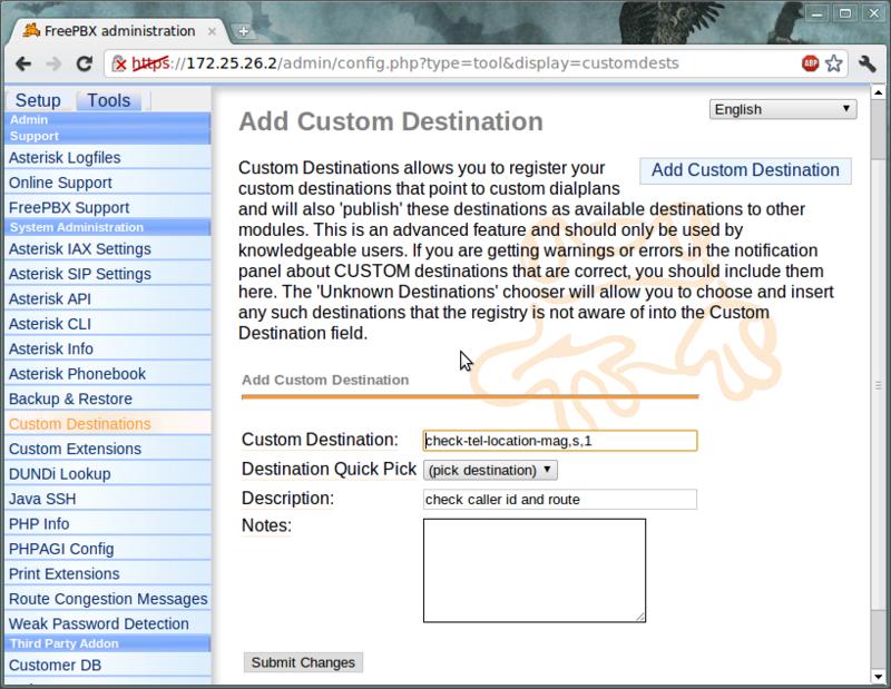 Пример использования Custom Destination в FreePBX