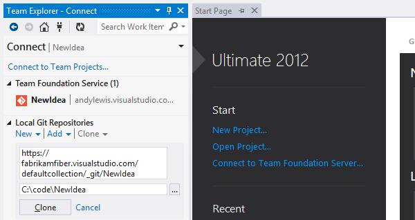 Работа с Git в Visual Studio 2012