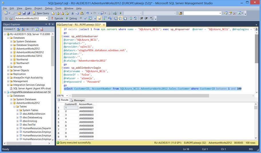 Работа с SQL Server в сценариях гибридного Облака