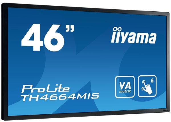При габаритах 1065,5 x 621 x 100 мм монитор Iiyama TH4664MIS-1 весит 28 кг