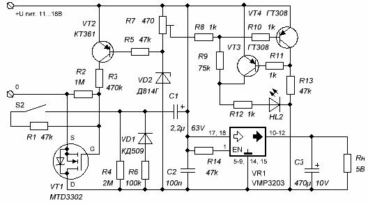 Схема контроля питания с индикатором разряда батареи и преобразователем 5-вольтового напряжения