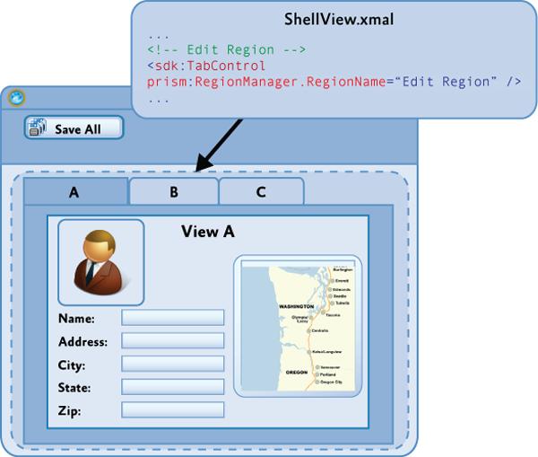 Определение EditRegion, используя элемент управления Tab control.