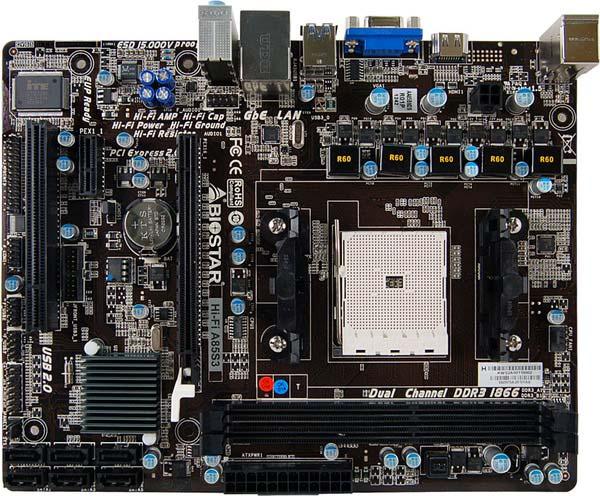 Системная плата Biostar Hi-Fi A85S3 рассчитана на процессоры AMD в исполнении FM2