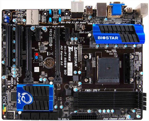 Плата Biostar Hi-Fi A88W 3D типоразмера ATX построена на чипсете AMD A88X