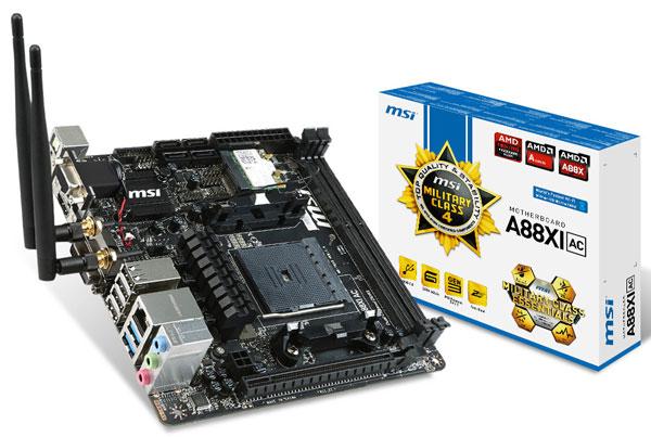 Плата MSI A88XI AC поддерживает подключение трех мониторов
