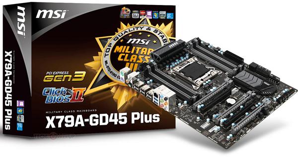 Системная плата MSI X79A-GD45 PLUS оснащена восемью слотами для модулей памяти