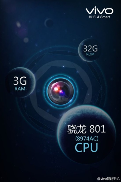 В конфигурацию Vivo X-Zoom войдет 3 ГБ оперативной памяти и 32 ГБ флэш-памяти