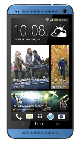 Смартфон HTC One синего цвета