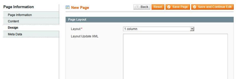 Совет по размещению стилевой разметки для отдельных CMS страниц в Magento