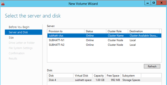 Создание Clustered Storage Spaces в Windows Server 2012