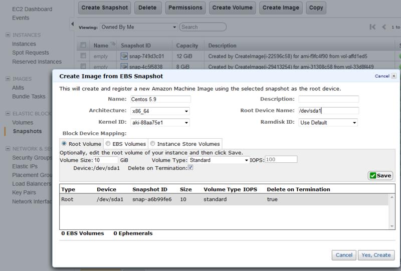 Создание своего образа с чистым CentOS 5.9 в облаке Amazon
