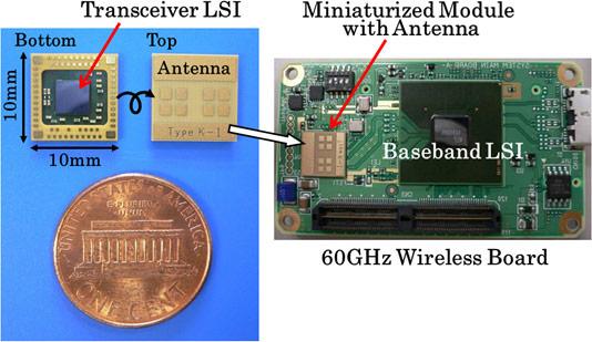 Приемопередатчик, созданный Panasonic, работает на частоте 60 ГГц