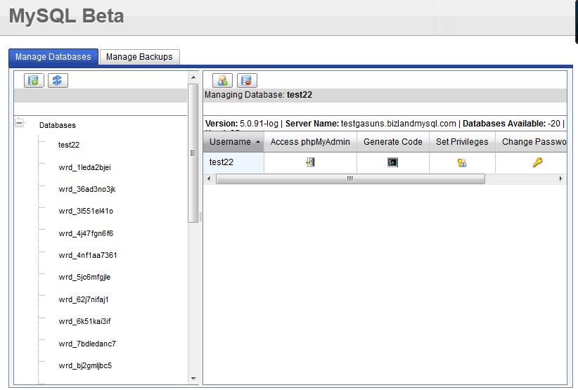 Работа с БД MySQL в панели vDeck