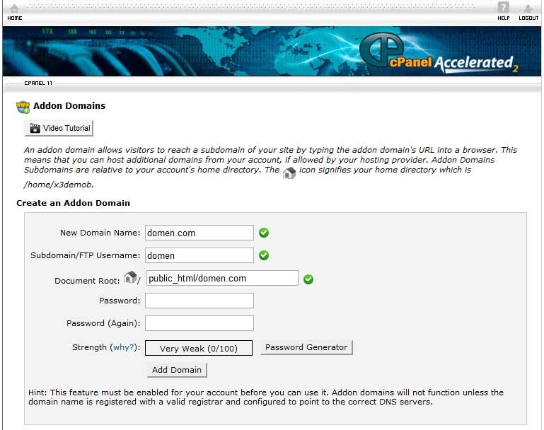 Экран добавления домена в cPanel
