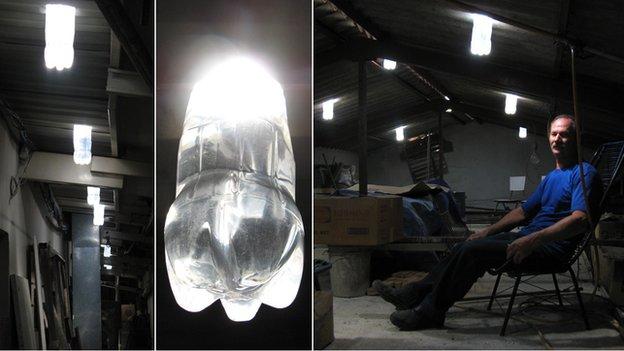 Световой колодец из пластиковой бутылки, воды и солнечного света