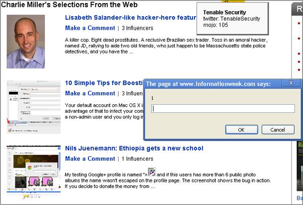 Твит об XSS баге в Google+ привёл к XSS на сайте издания InformationWeek