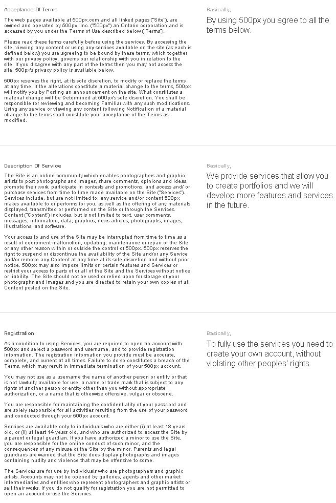 Упрощённая версия пользовательского соглашения (ToS)