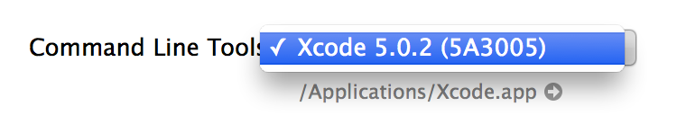 Xcode.app → Preferences → Location | Command Line Tools