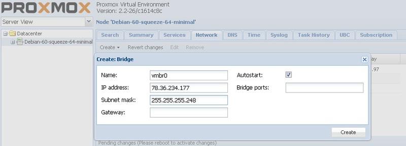 Установка системы управления виртуализацией (openvz, kvm) proxmox 2.2 на сервер в Hetzner