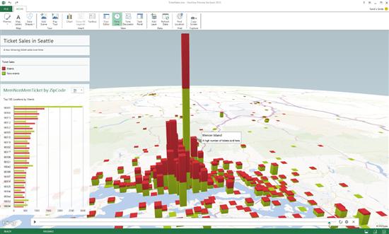 В Excel 2013 появилась эффектная трёхмерная визуализация данных на карте