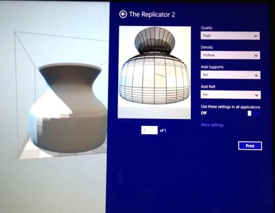В Windows 8.1 добавлена поддержка 3D печати