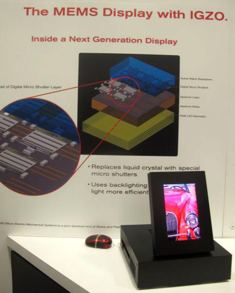 Дисплей, в котором используются технологии MEMS и IGZO, потребляет в два раза меньше энергии, чем жидкокристаллический
