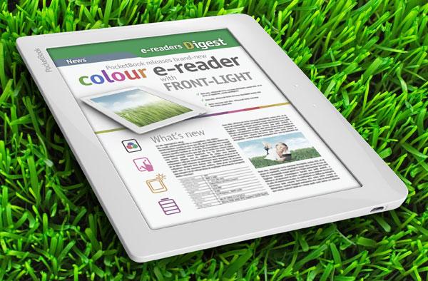Компьютерное изображение будущей электронной книги PocketBook с цветным сенсорным экраном и внешней подсветкой