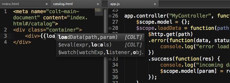 В новой сборке COLT 2.0 (beta 6) появился расширенный автокомплит для Angular.js проектов — внутри {{}} для Sublime Text (2 и 3)