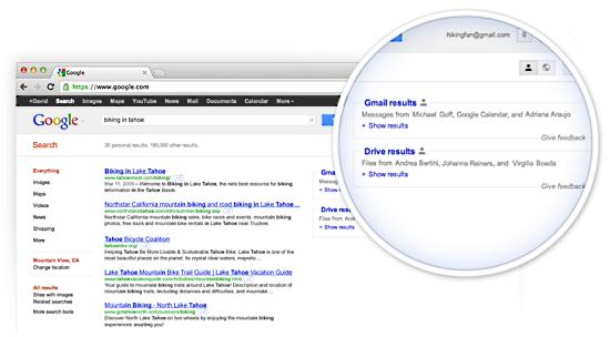 В персональной поисковой выдаче Google появятся личные документы пользователя