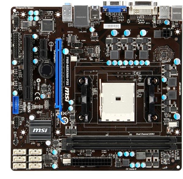 В плате MSI A85XMA-P33 используется чипсет AMD A85X, хотя хватило бы и A75