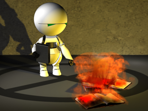 Робот сжигающий копии блокнота